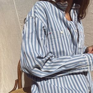 Vintage oversized striped button down shirt